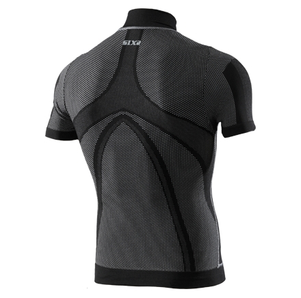 Maillot Coupe Vent Manches Courtes Col Montant Sixs TS5 Windshell Carbon Noir 2017 - Maillots Sixs