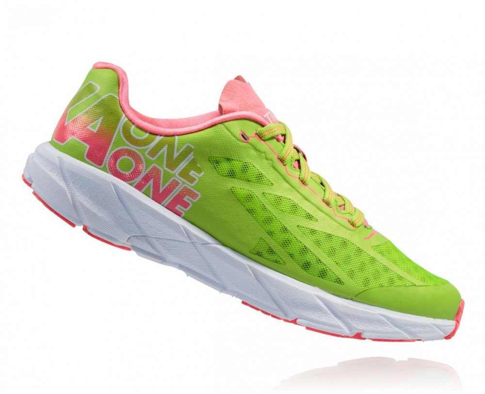 Chaussures Running Hoka One One Tracer Bright Green Néon Pink - Running Hoka One One