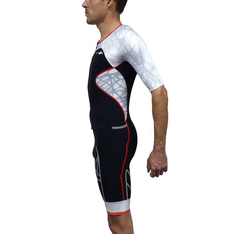 Combinaison Trifonction Kiwami Spider LD Aéro Noir/Rouge/Blanc - Triathlon Kiwami