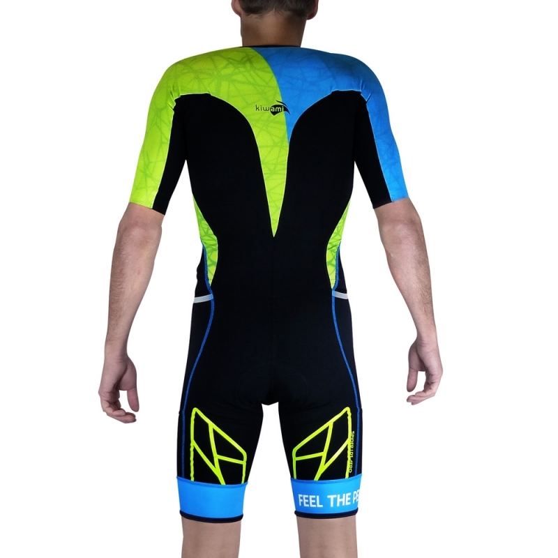 Combinaison Trifonction Kiwami Spider LD Aéro Noir/Bleu/Lime - Triathlon Kiwami