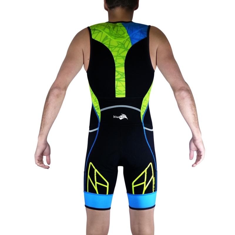 Combinaison Trifonction Kiwami Spider LD1 Noir/Bleu/Lime - Triathlon Kiwami