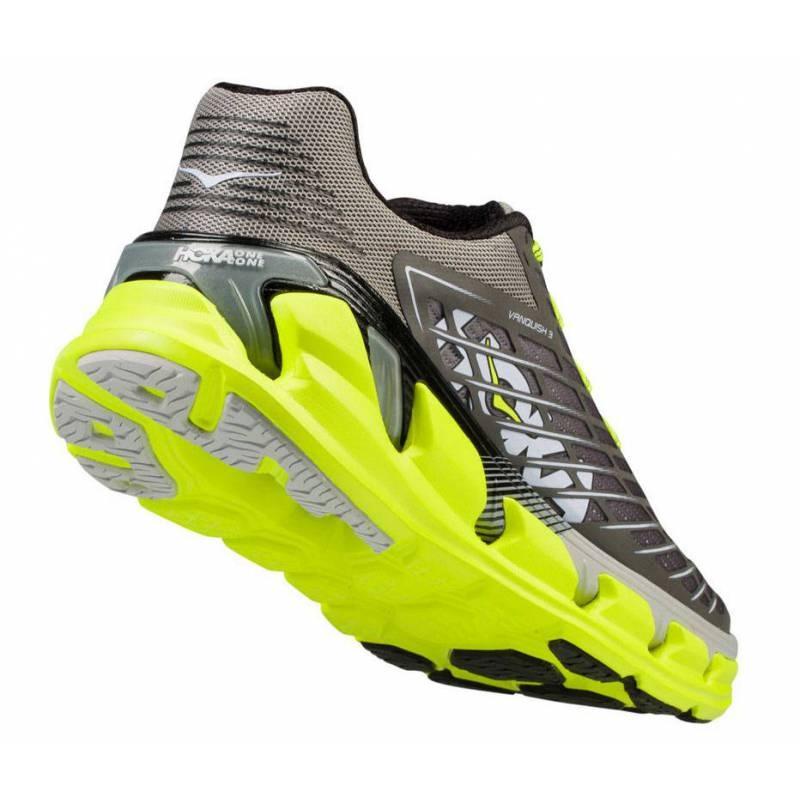 Chaussures Running Hoka One One Vanquish 3 gris/jaune fluo - Running Hoka One One